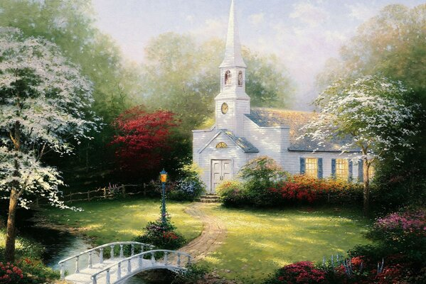 chapel Thomas Kincaid lamp paintig Hometown chapel bridg
