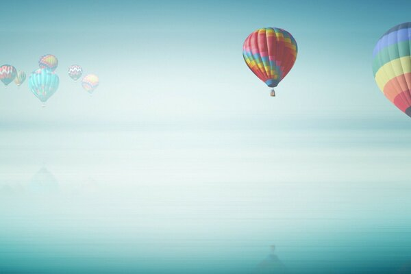 Hot Air Balloon Above The Ocean