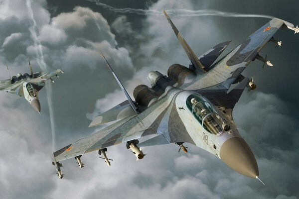 The su-30 aircraft clouds