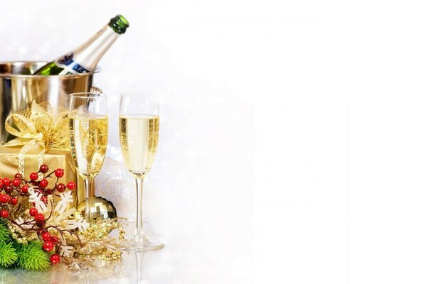 champagne bottle bucket glasses