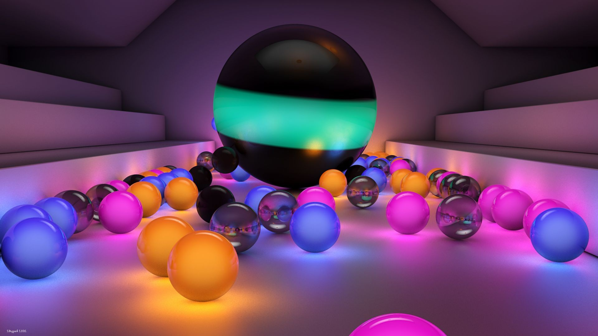 Multi-colored glowing balls