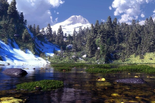 water mountains grass stones nature Art snow lake