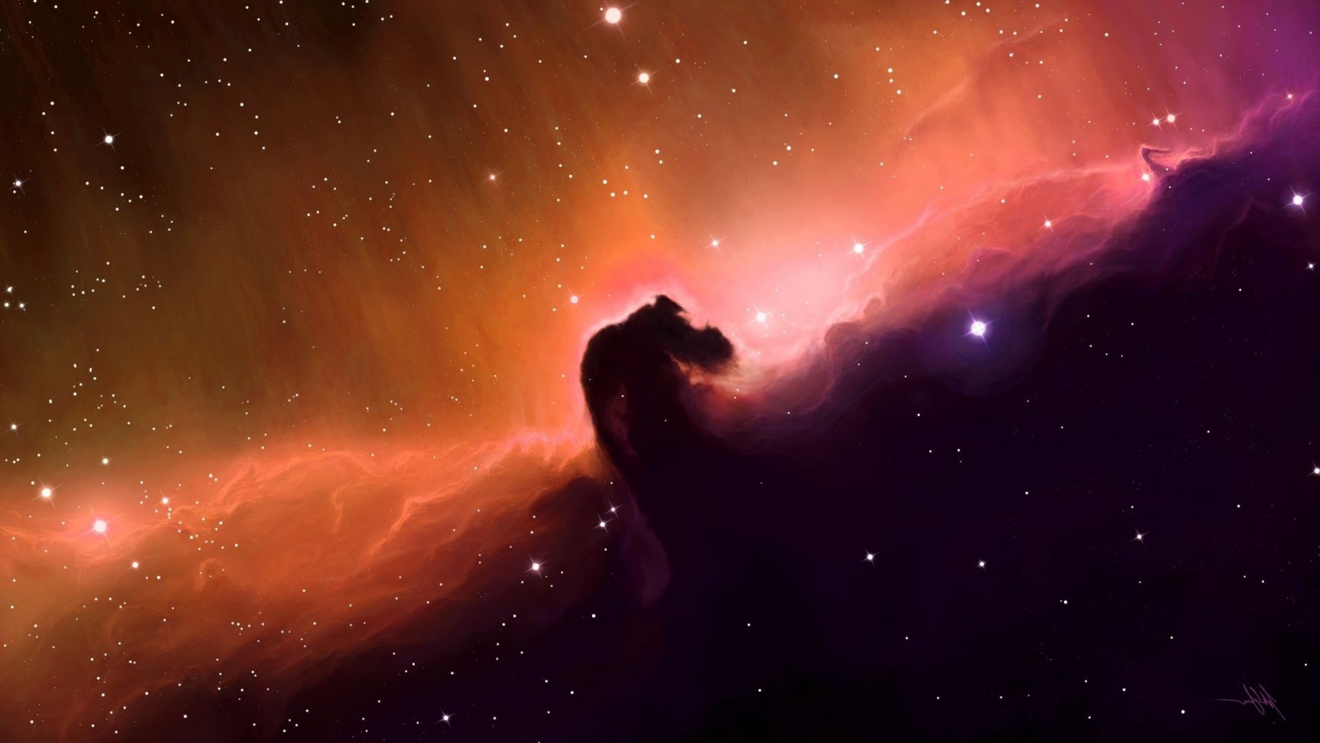 Space Art Horse Head Nebula Stars Android Wallpapers