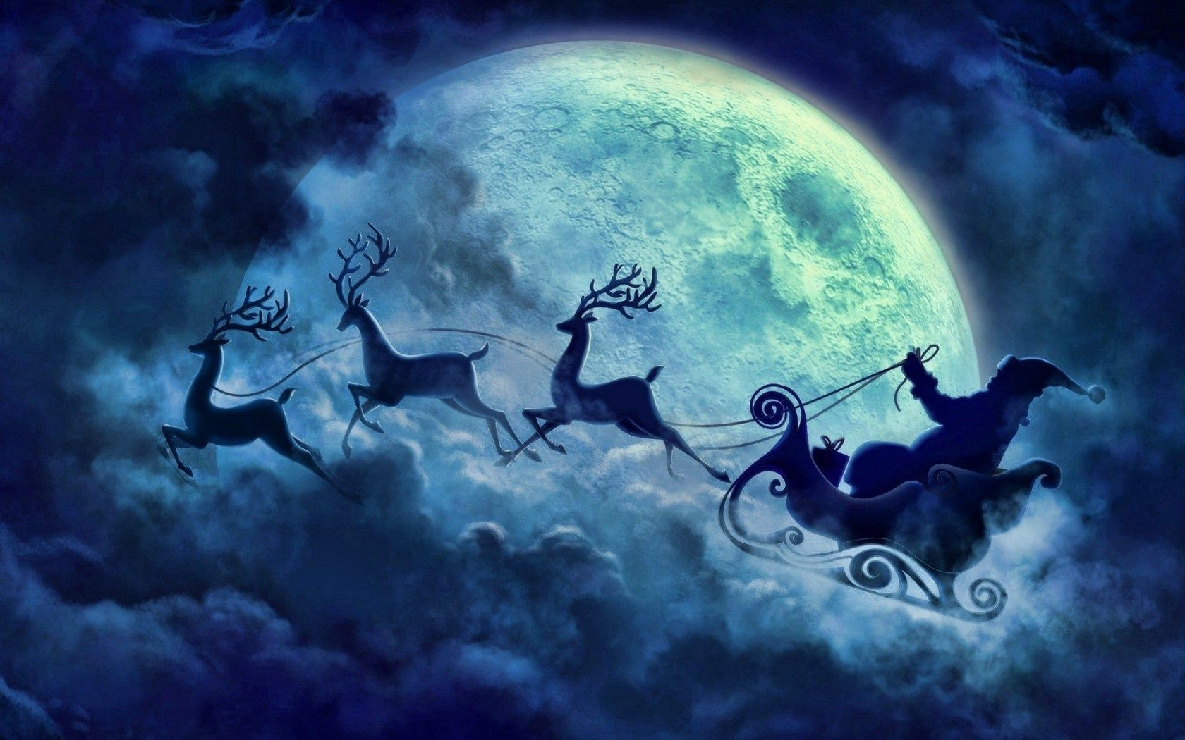 Night Blue Cloud Flying Reindeer Moon Santa Christmas