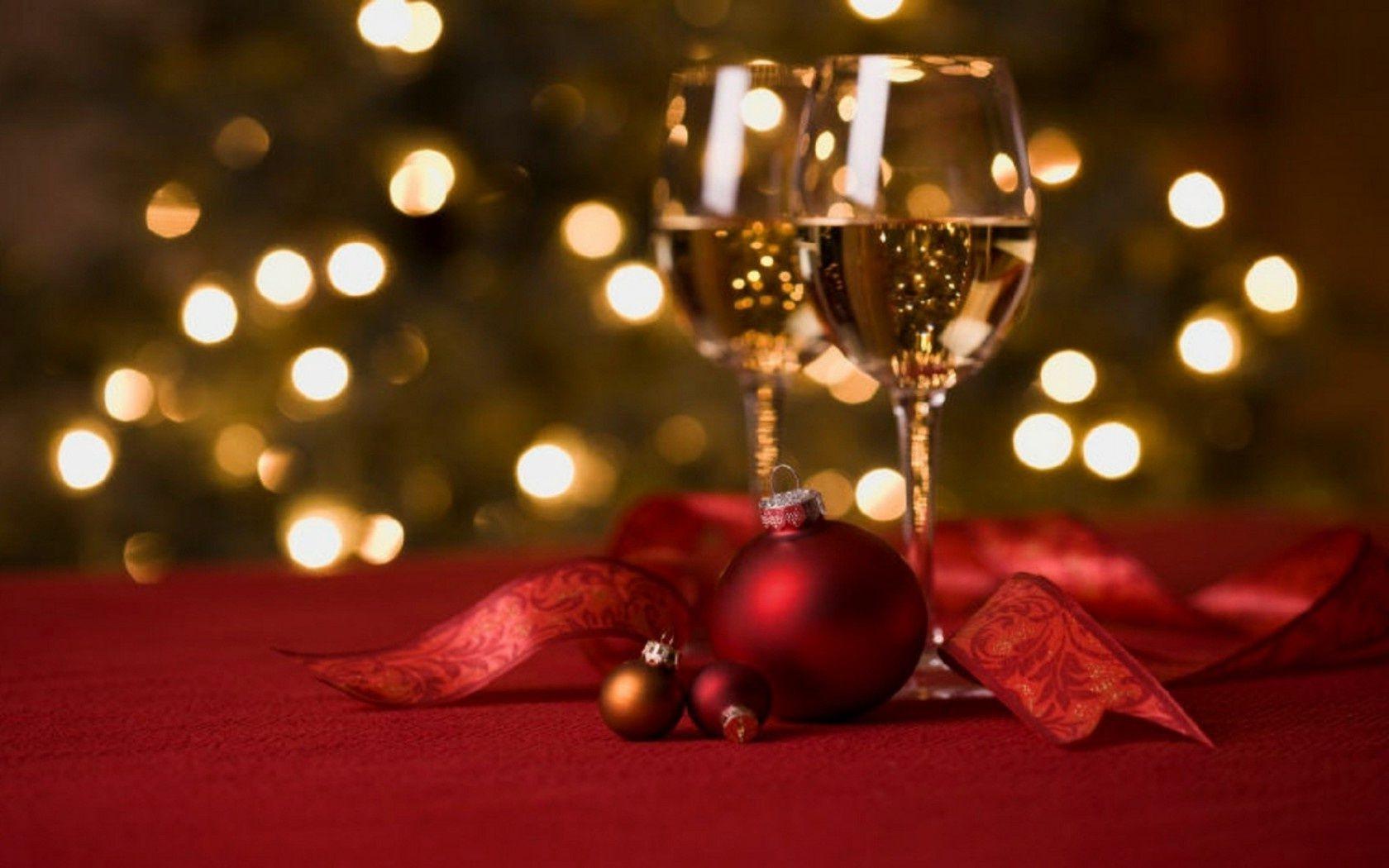 Red Bokeh Lights Night Wine Christmas Ball New Year - Phone Wallpapers-7390