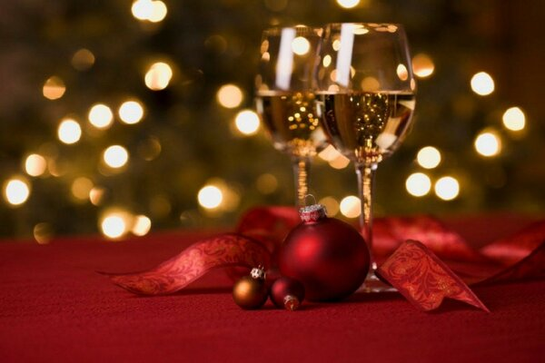 red bokeh lights night wine christmas ball new year