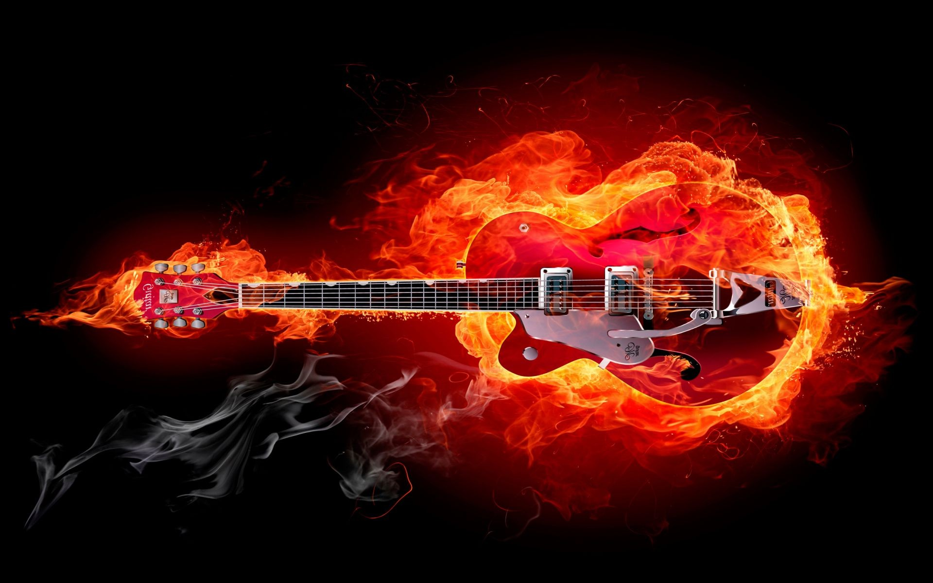 Guitar On Fire Android Wallpapers