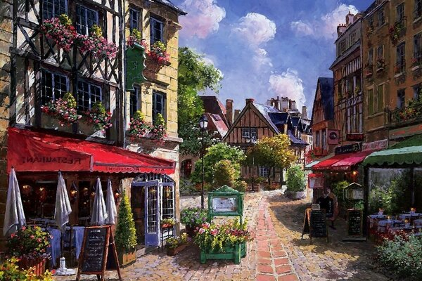 sung sam park flowers shed street cafe house Painting