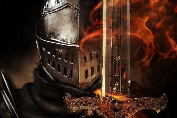 sword helmet armor Dark souls flame knight