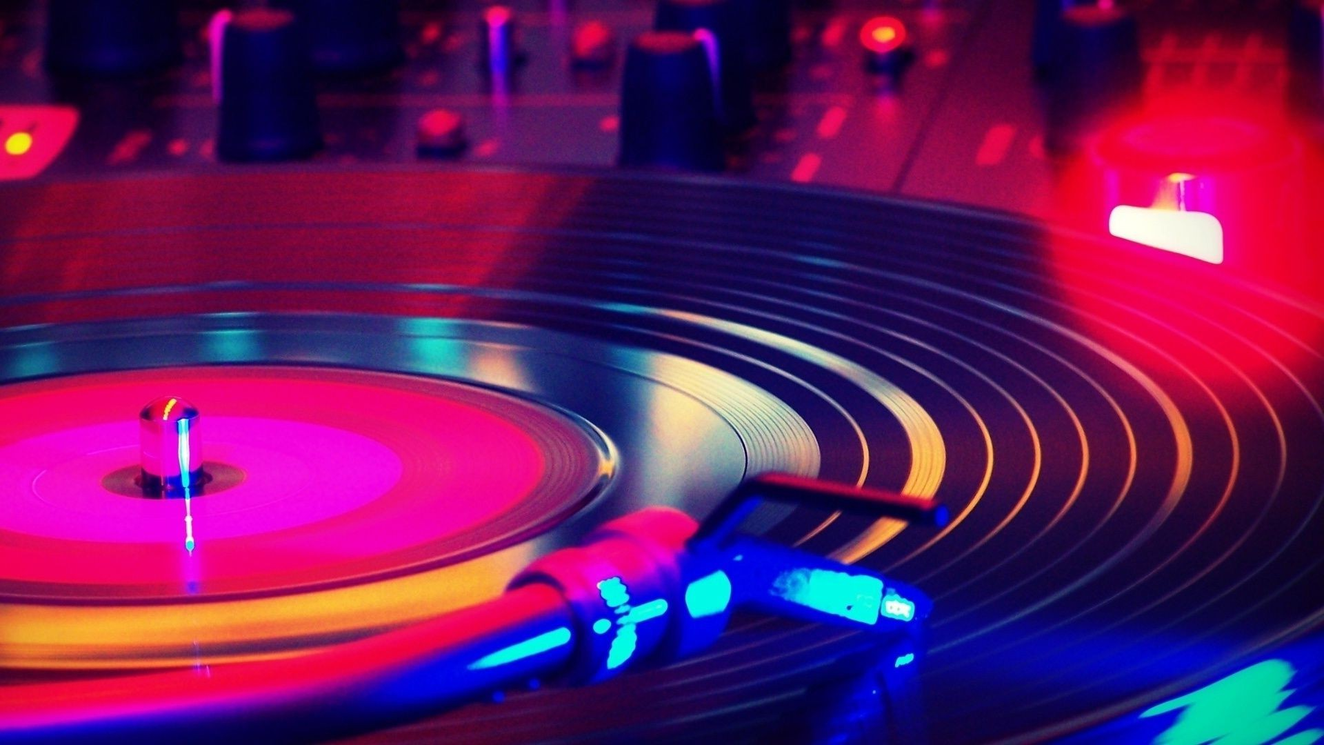 music phonograph record turntable vinyl sound disco deejay motion nightlife laser club round technology data electronics stereo