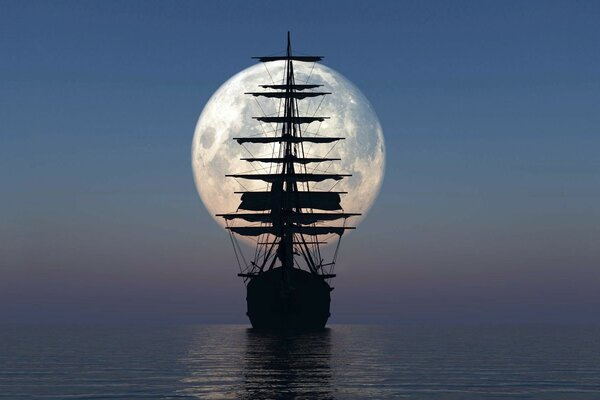 Sailing ship on the background of the moon