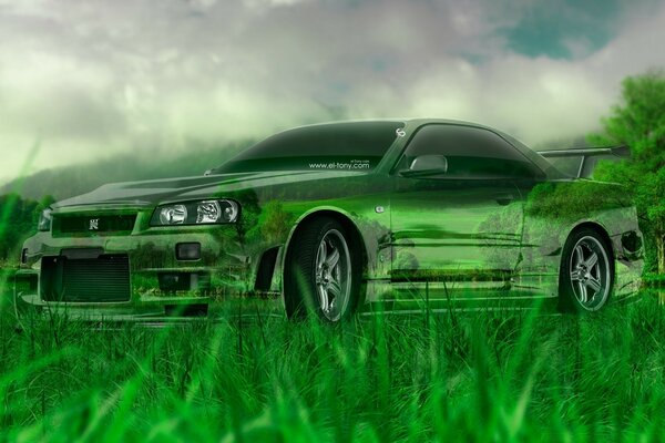 Nissan Skyline GTR R34 Crystal Nature Car design by Tony Kokhan 2015