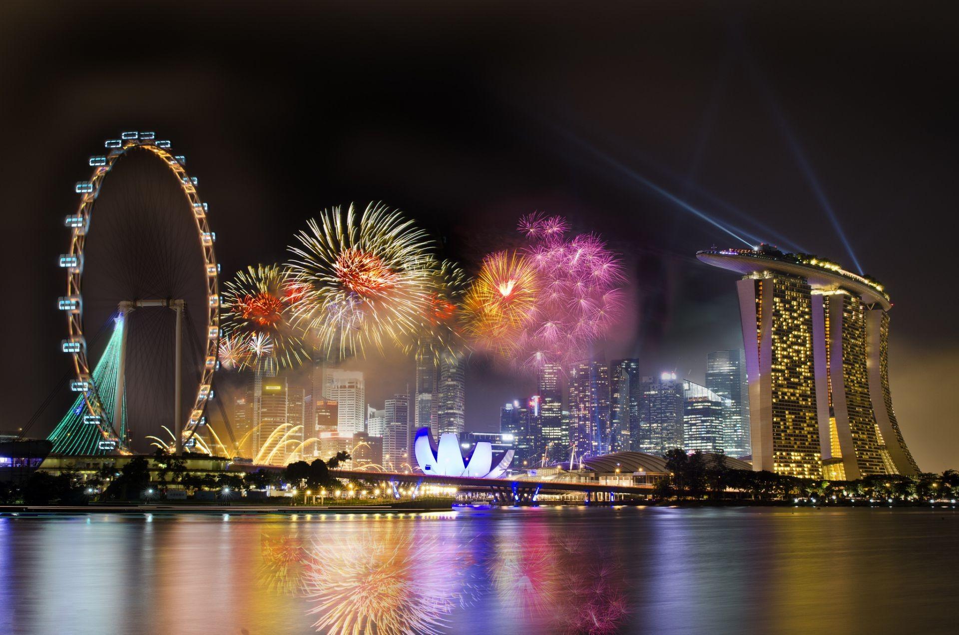 Сингапур ночь освещение скачать