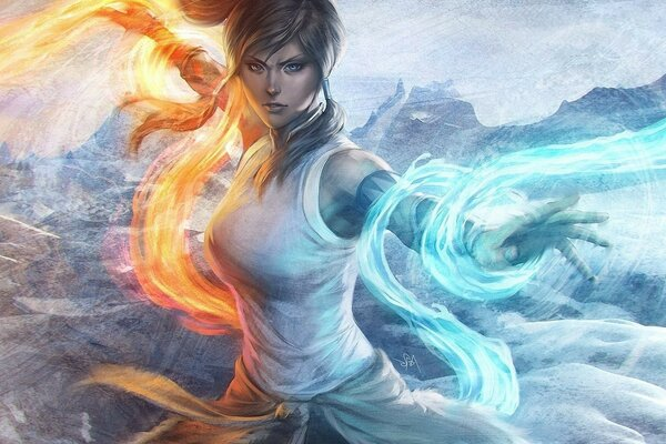 legned avatar korra of korra anime fire water