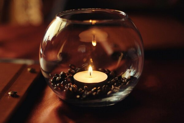 candle table glass coffee