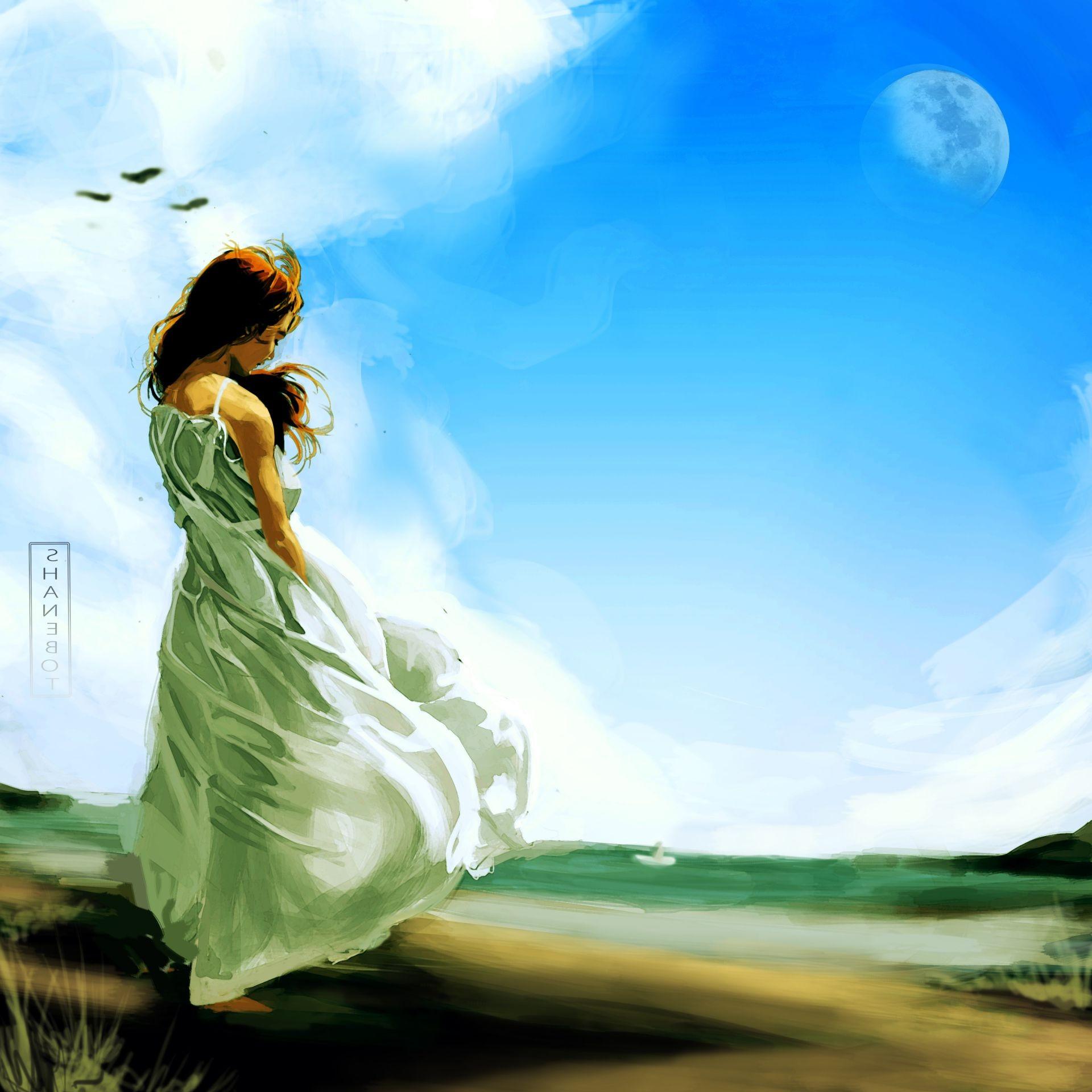 Beautiful Nature Girl Wallpaper: Shanebot Girl Art Sky Clouds Moon Alone