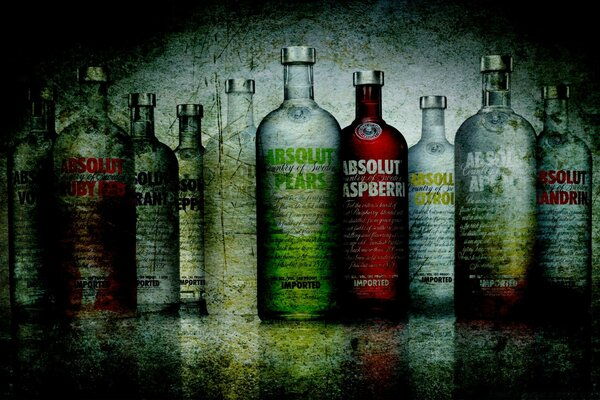 Absolut Vodka Bottles Grunge