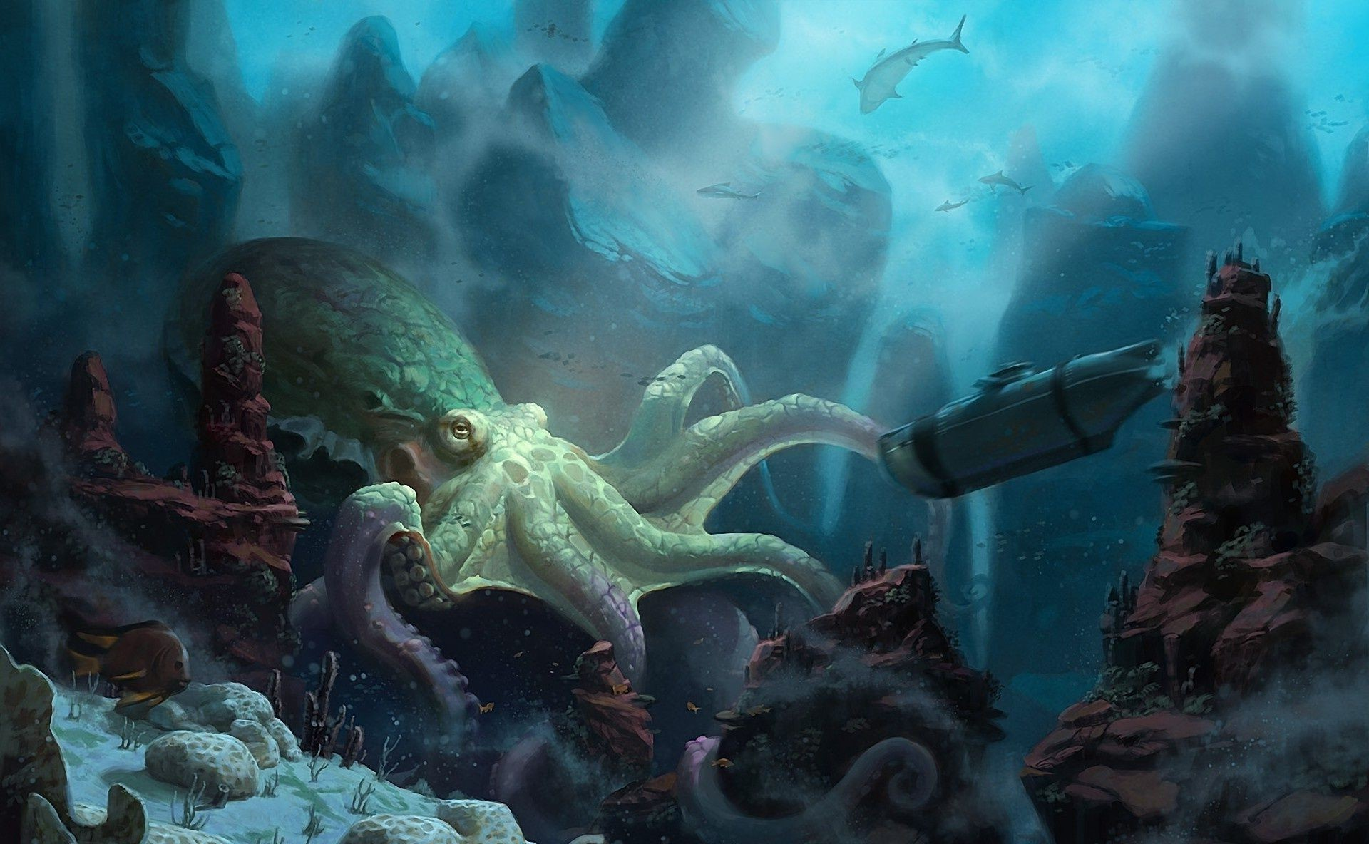 unidcolor ship octopus Art submarine under water