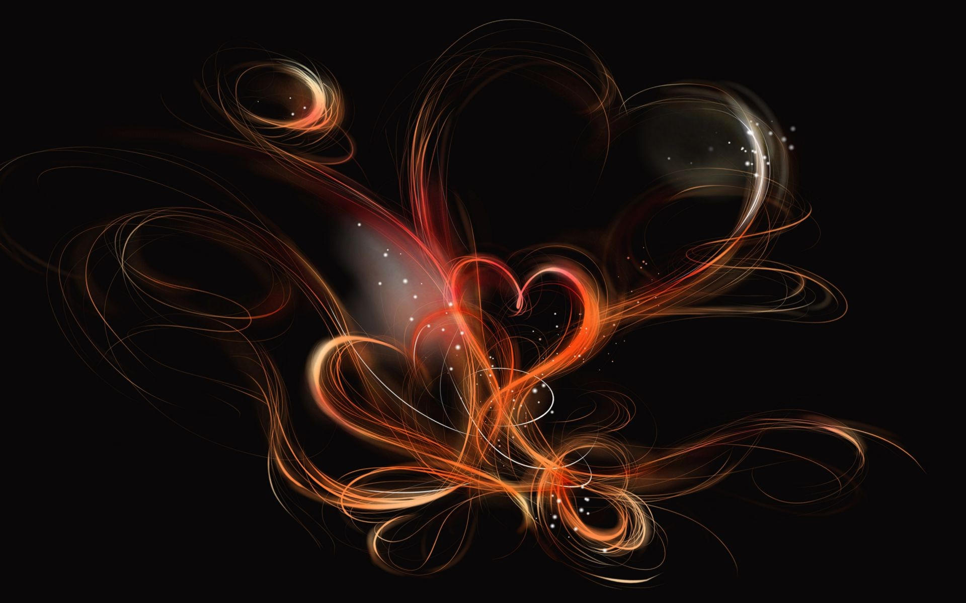 black background with fiery hearts