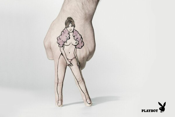 figure girl style advertising emblem playboy Hand