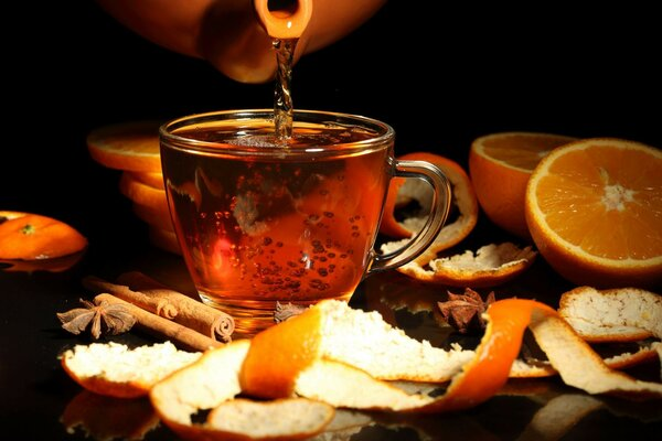 Cup the rind of the drink the teapot star anise oranges
