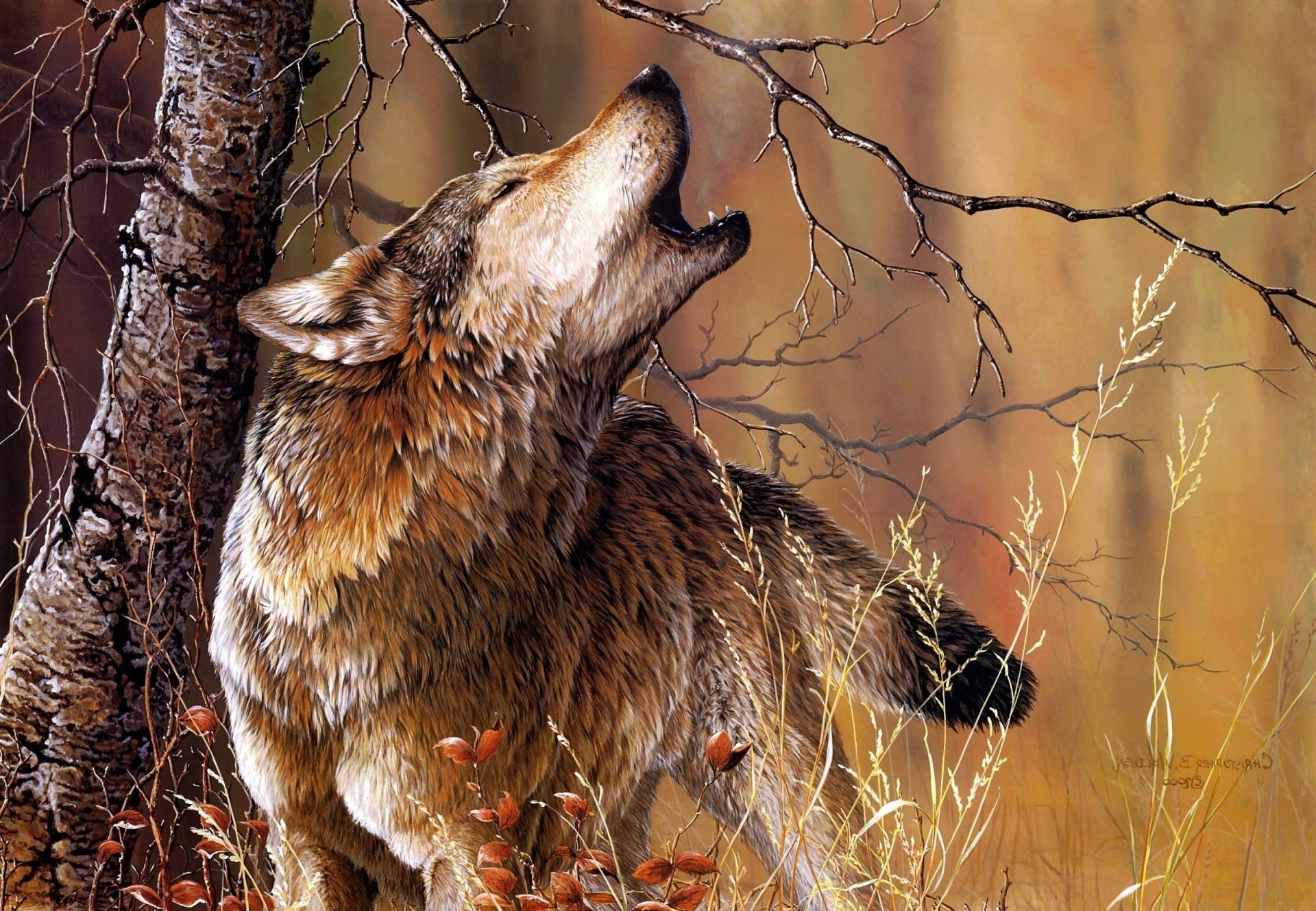 wood wolf art Christoper b. walden