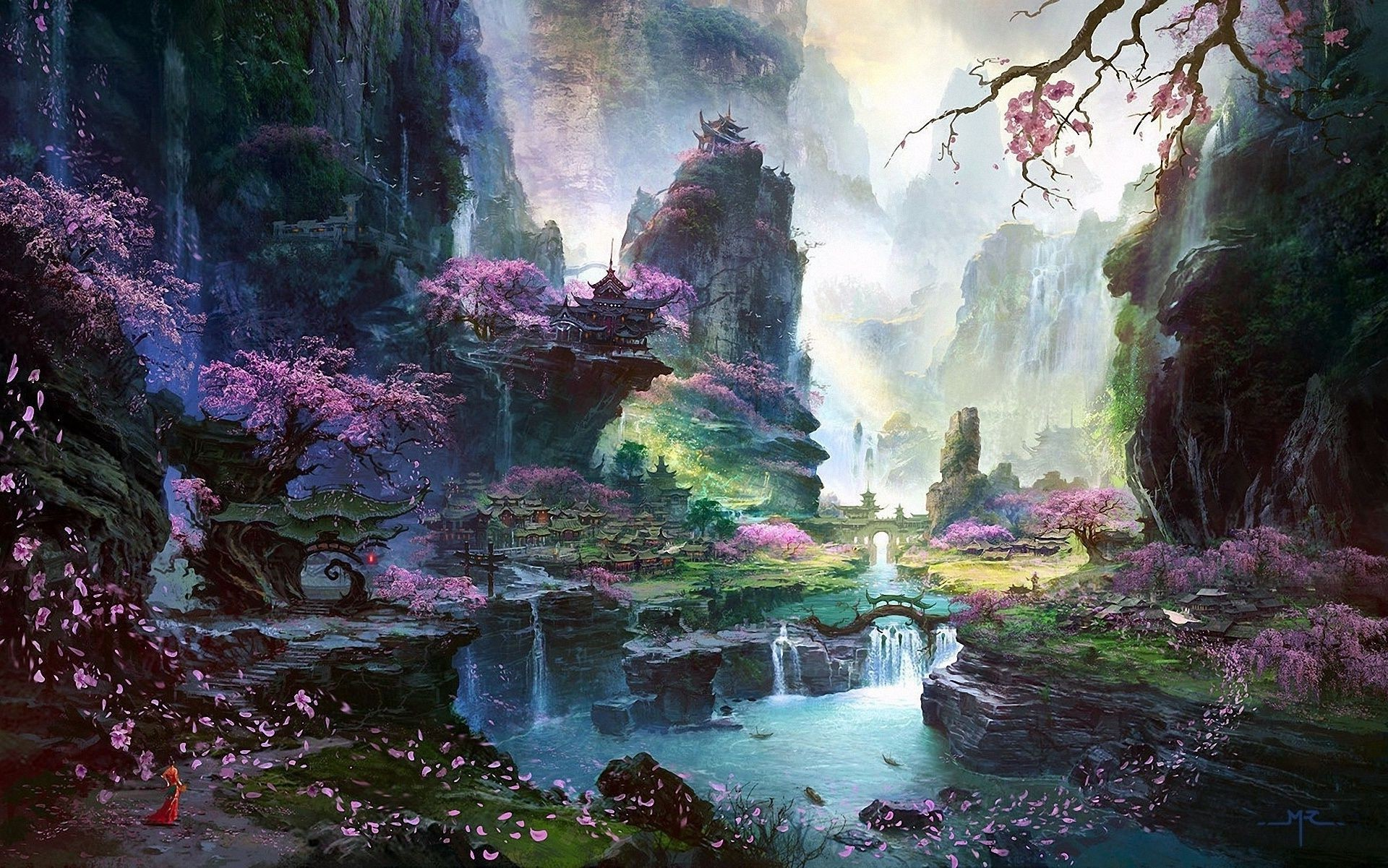 Waterfall River Landscape Asia Art Sakura Trees Temple Desktop Wallpapers For Free