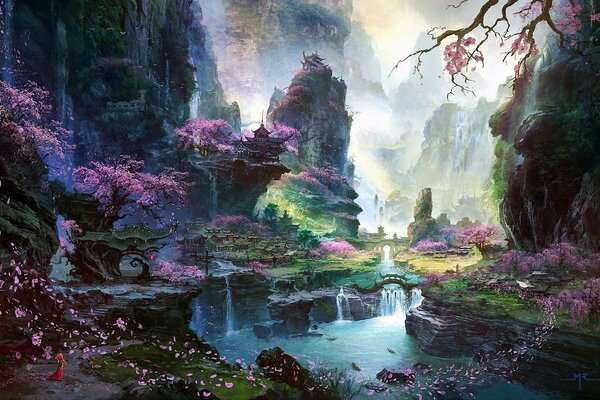 waterfall river landscape Asia Art Sakura trees temple