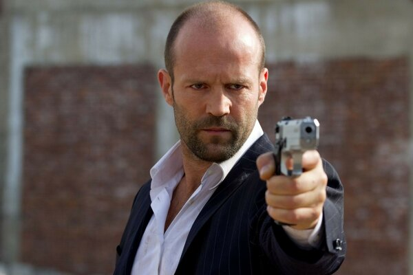 Actor Jason Statham in the movie the Defender