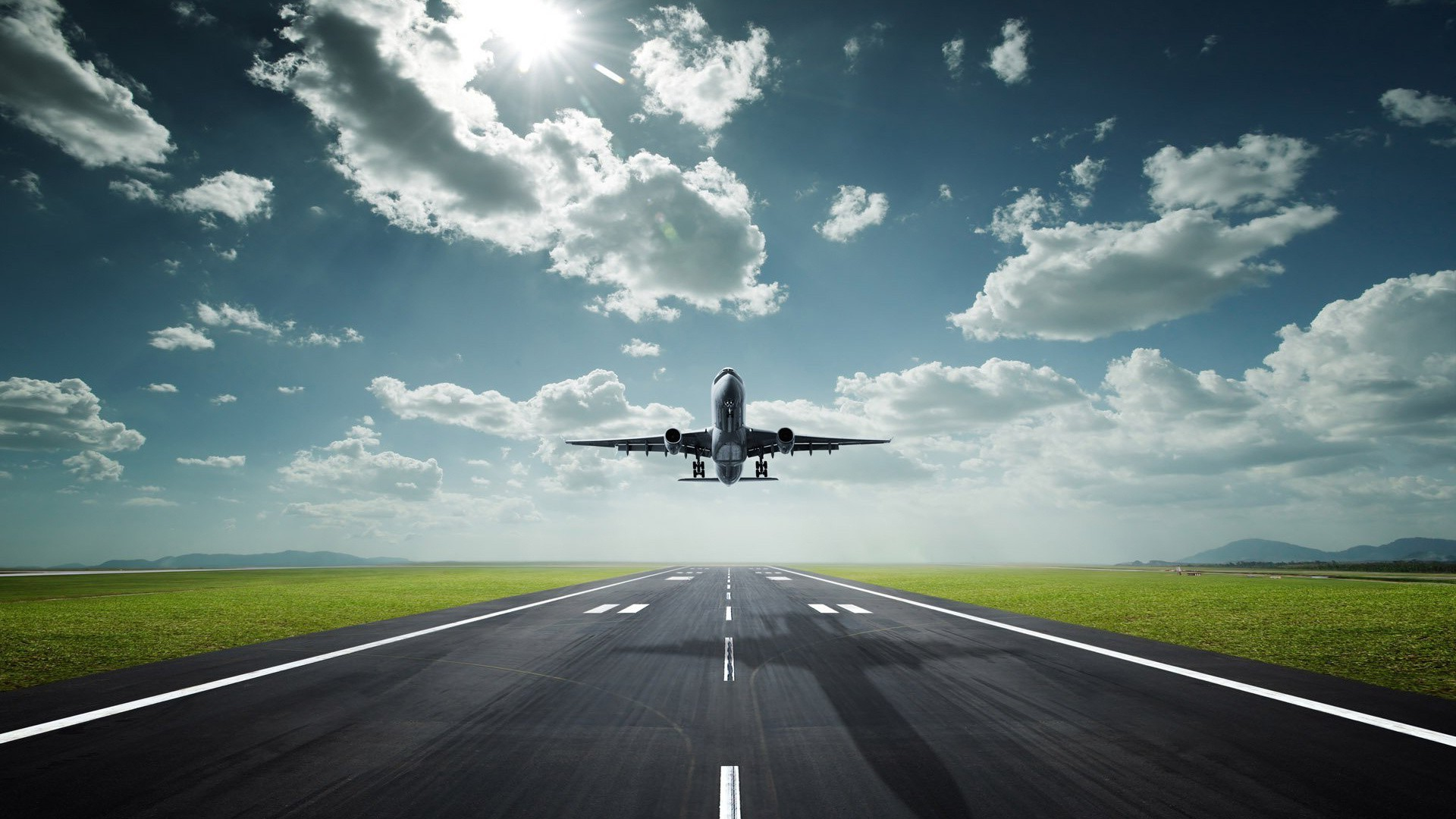 runway transportation system airplane asphalt aircraft airport vehicle sky travel tarmac road fast traffic jet flight