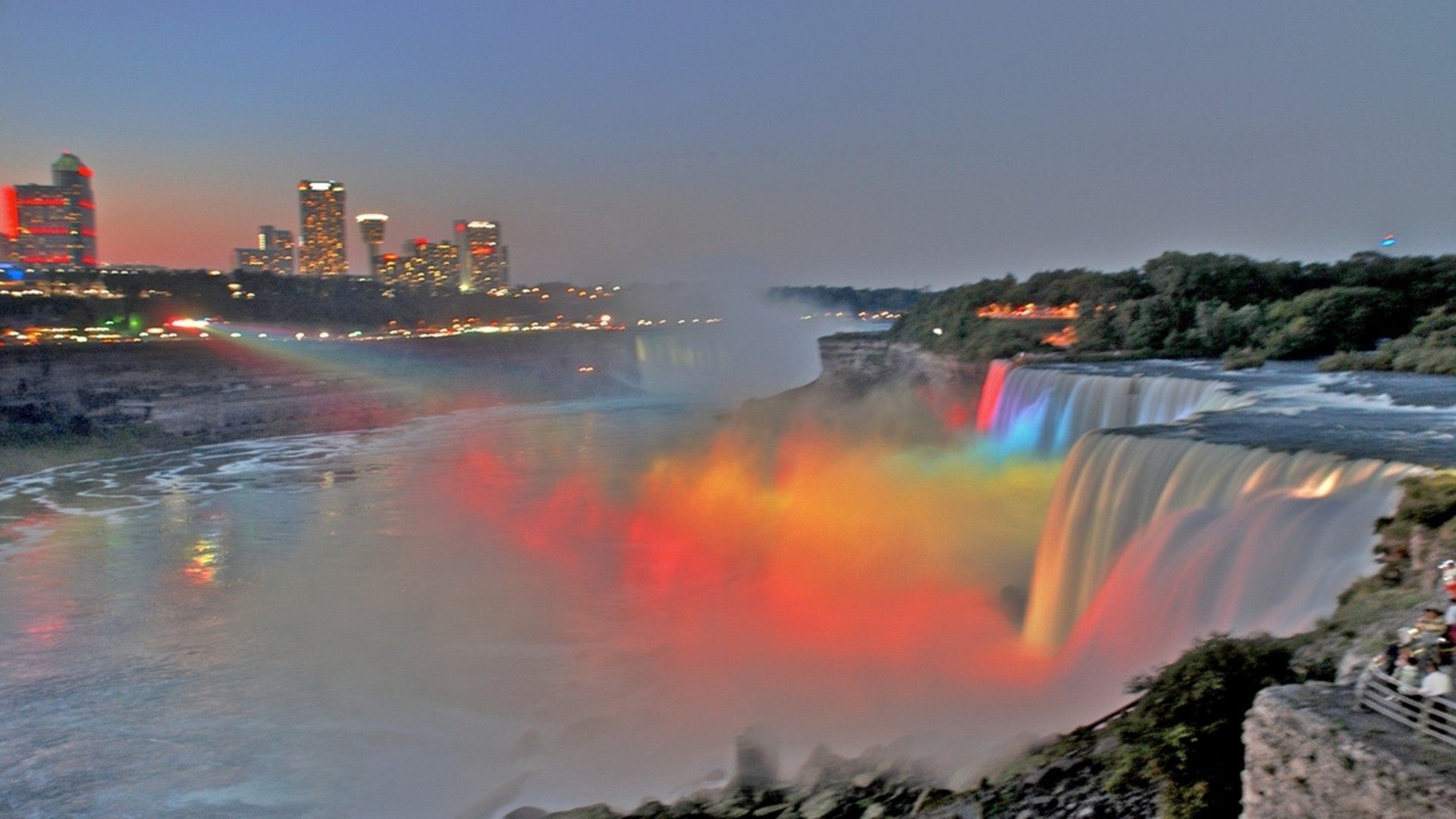 Niagara falls in color light