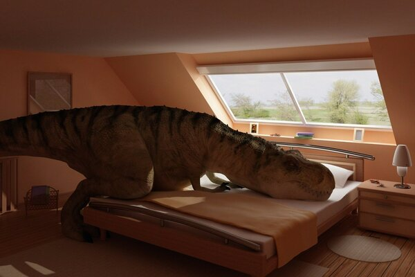 Dino sat down on the bed in a modern apartment