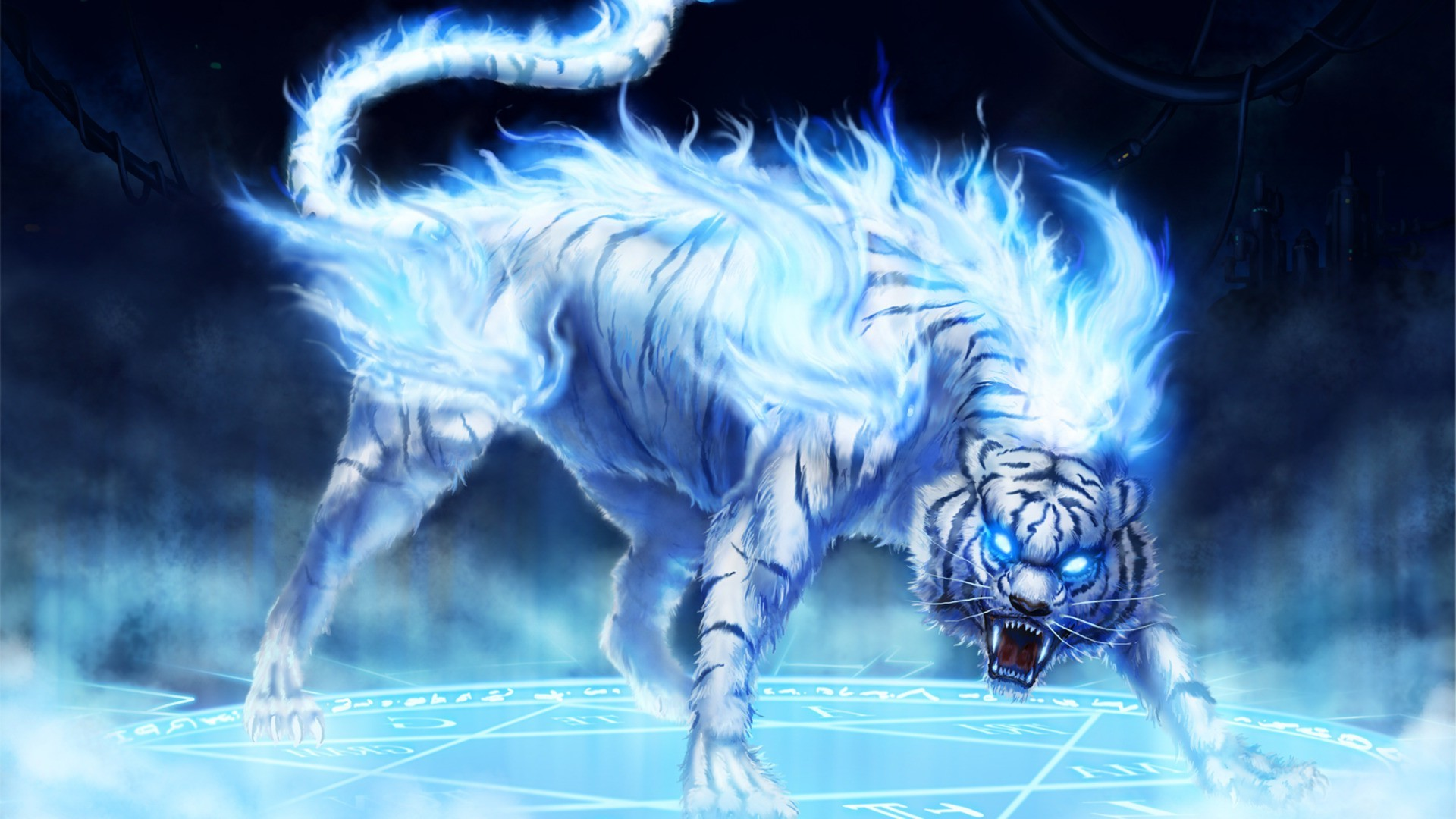 Tiger White Fire Android Wallpapers