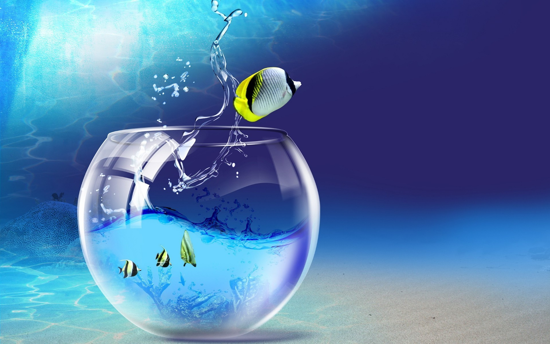 creative ball-shaped underwater moon water sphere travel