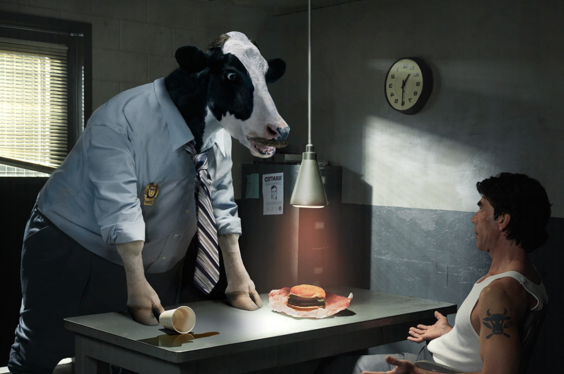 Police cow is conducting the interrogation