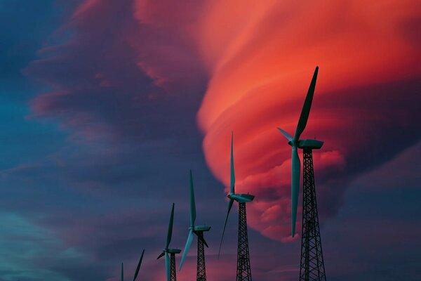 Windmills and red clouds