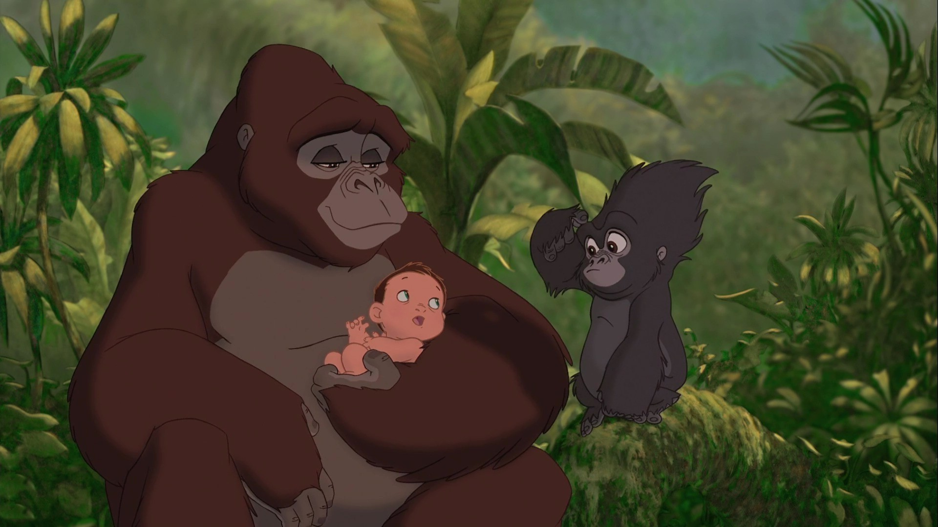 Tarzan with his gorilla mother and best friend