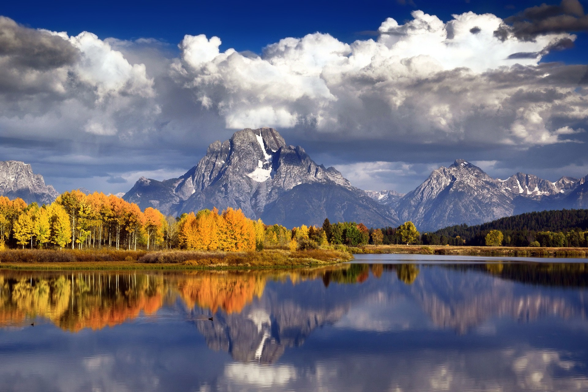 lake reflection landscape mountain water snow nature scenic wood sky fall dawn