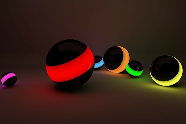 Glowing colorful balls