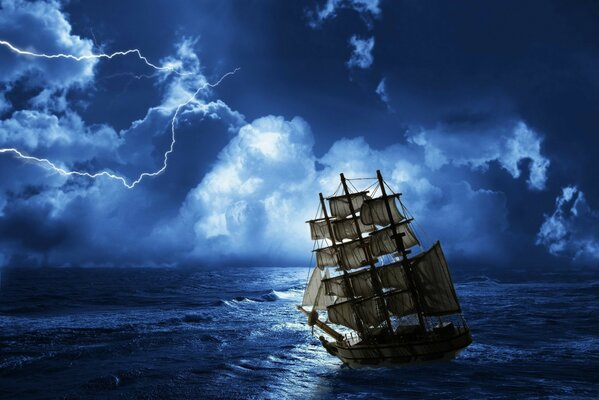 There is a storm at sea