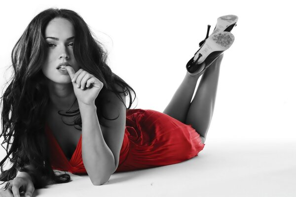 Sexy Megan Fox in Red Dress