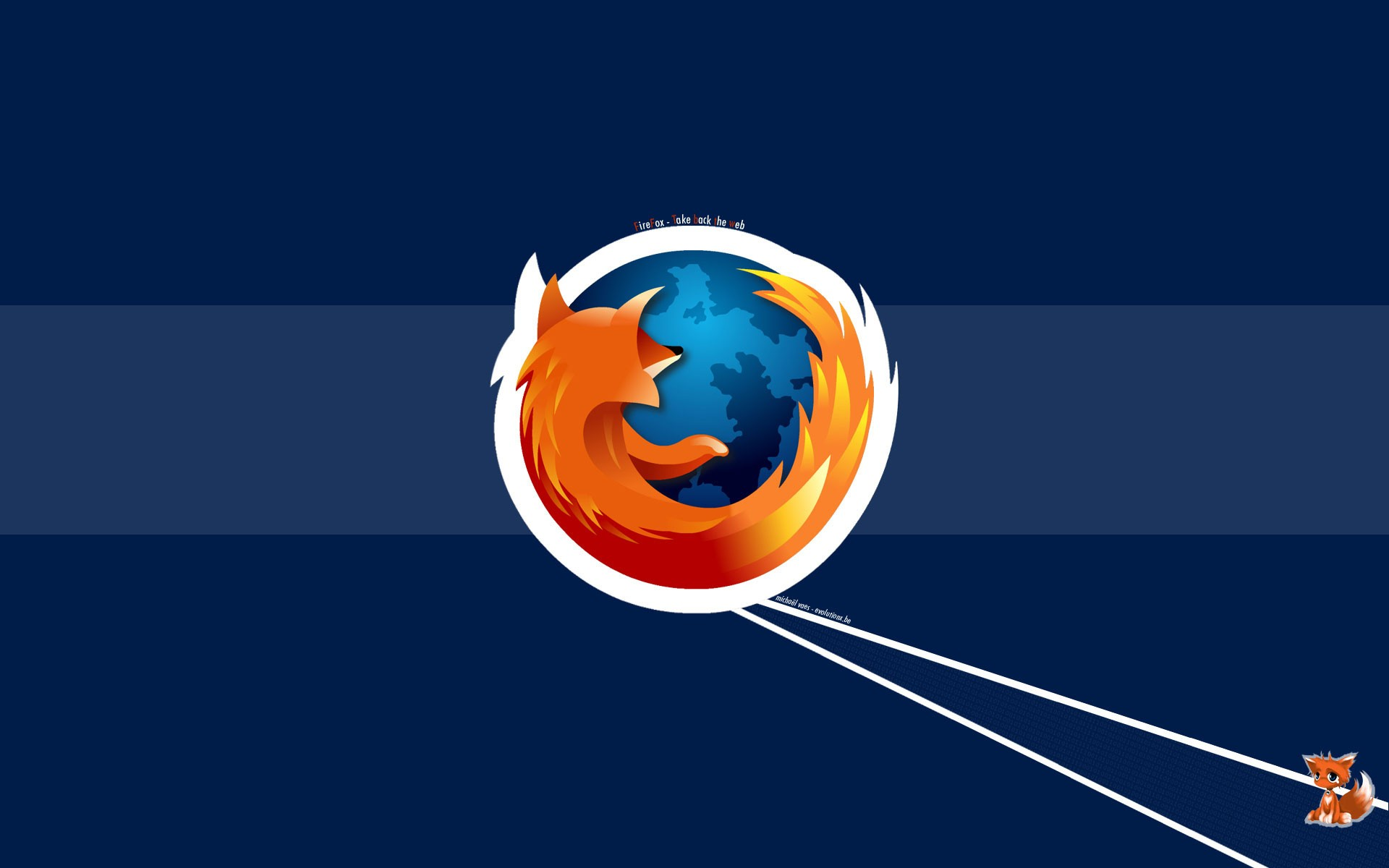 The logo of the Firefox browser and a small drawn Fox