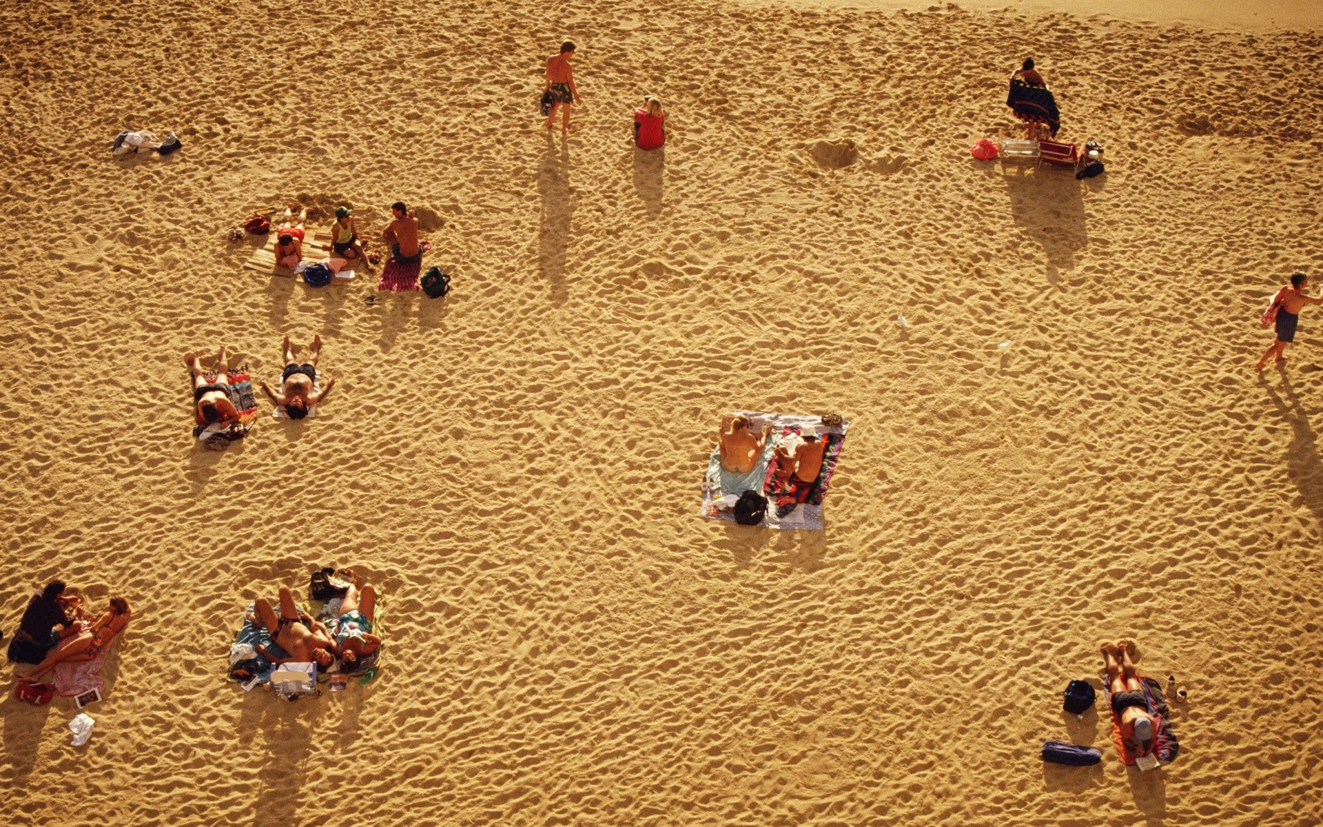 People on the beach top view