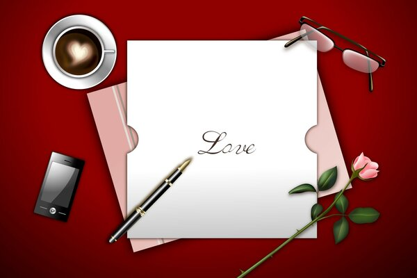Inscription Love on a piece of paper, rose, coffee, iphone