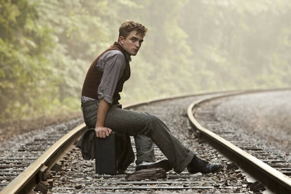 Robert Pattinson On Rail Track