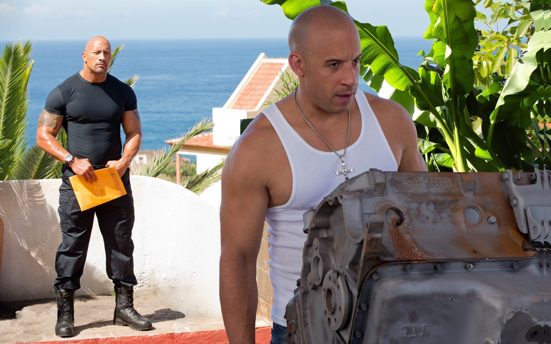VIN Diesel and Dwayne the Rock Johnson in the movie fast and furious 6