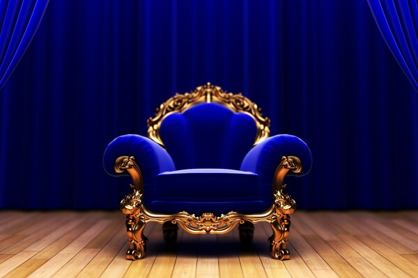 The blue chair on the stage