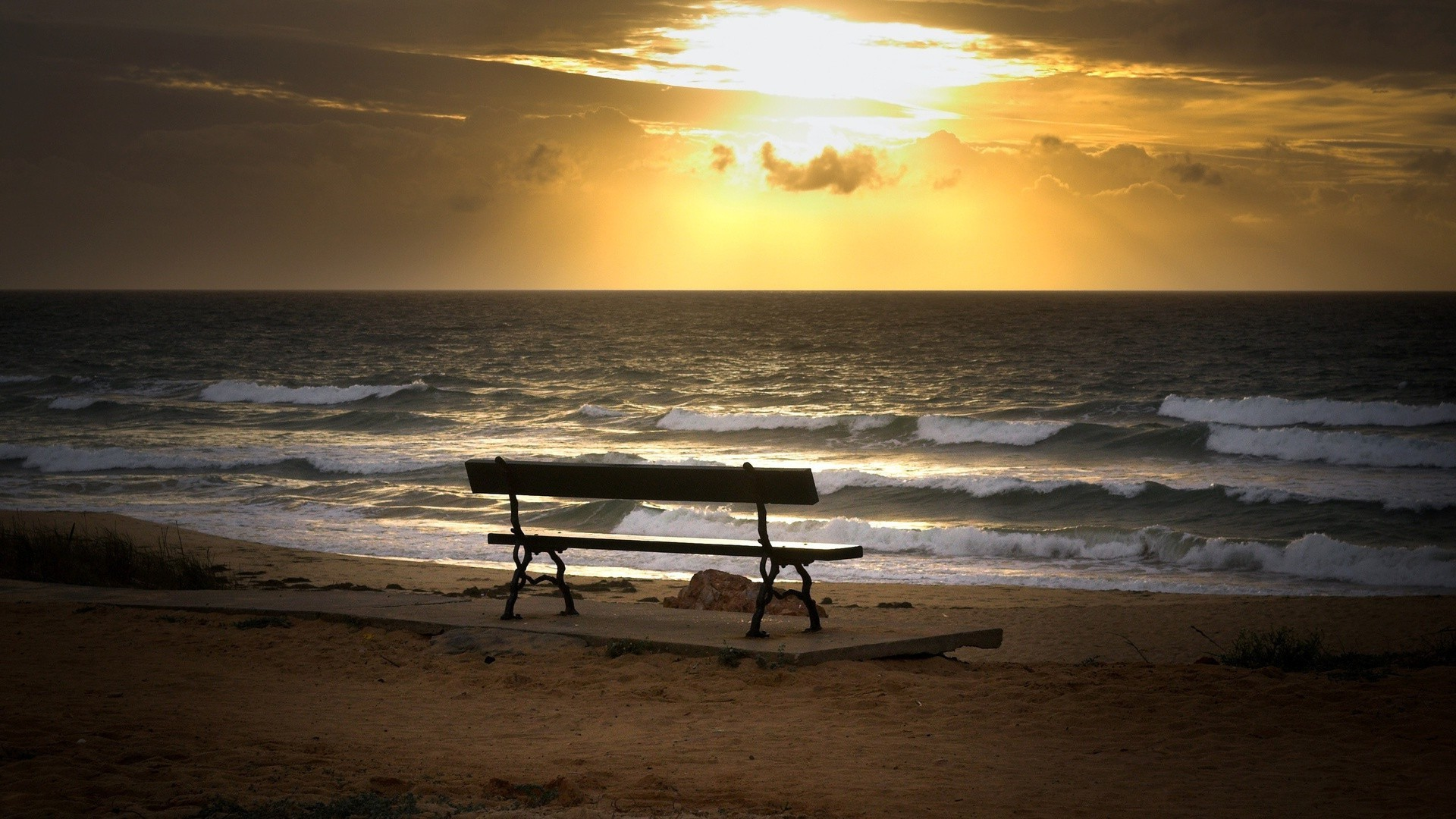 Bench on the coast