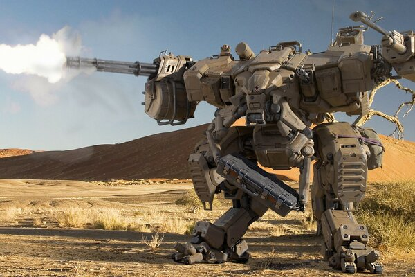 Robot sagatel armed with machine guns going through the desert