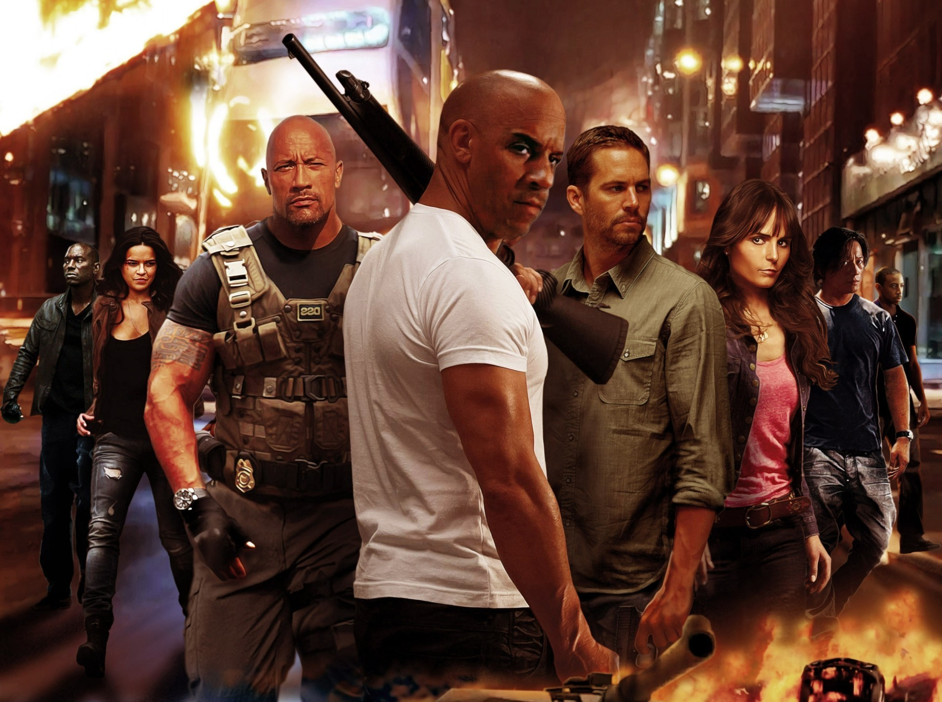 Fast and furious 6, the whole team headed by VIN Diesel in the collection